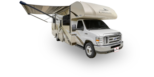 Four Seasons RV Rentals - Class C X-Large Motorhome | Passenger's Side Exterior with Awning