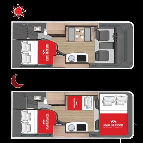 Four Seasons RV Rentals - Class C Medium Motorhome | Floorplan