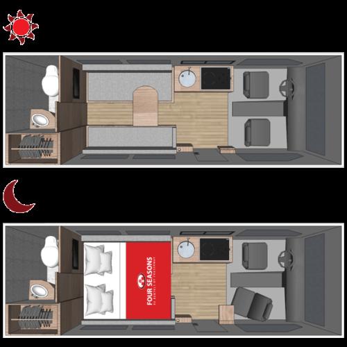 Four Seasons RV Rentals - Van Conversion   Floorplan