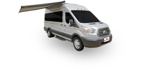 Four Seasons RV Rentals - Van Conversion   Passenger's Side Exterior with Awning